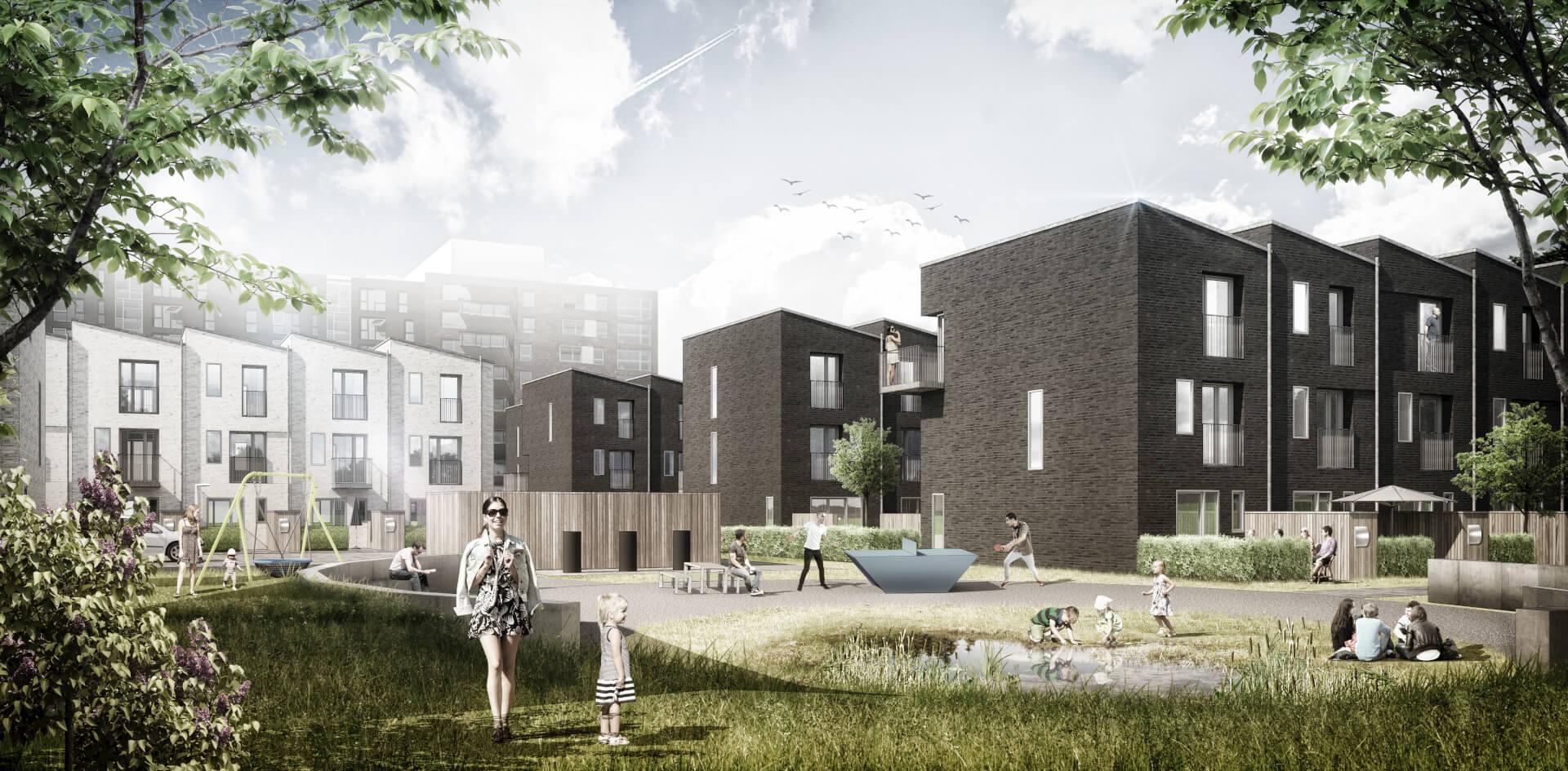 Visualisering af en central kvartersplads i Bellakvarter