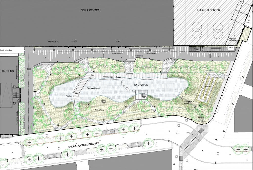 Sydhaven rekreativt område Bellakvarter Ørestad